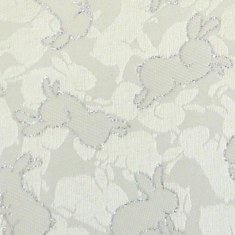 彩兎文緞子 白銀