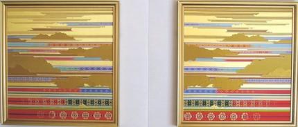 国立京都迎賓館貴賓室、タペストリー「暈繝段文(一対)」